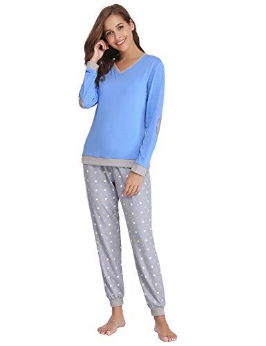 Aiboria Pijamas Invierno Mujer Algodón Manga Larga