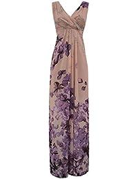 3c4bd3a72e44 Abito Lungo Donna Fantasia con Fiori Colore Rosa Cipria E Glicine