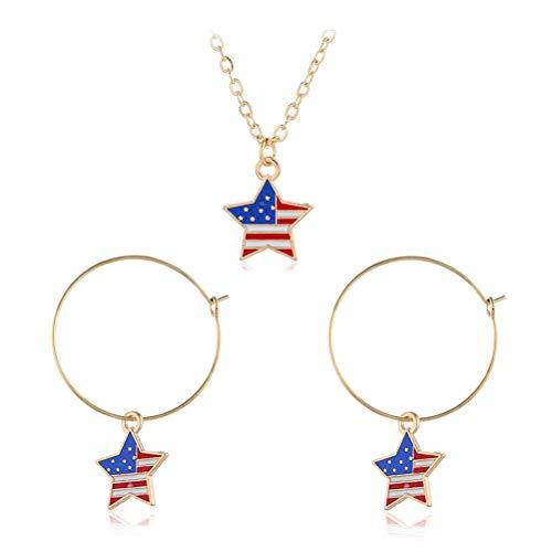 e Flagge Halskette und ein Paar Ohrringe Trendy fünfzackigen Stern Schmuck Anhänger Frauen Dame Dress Up Kostüm Zubehör ()