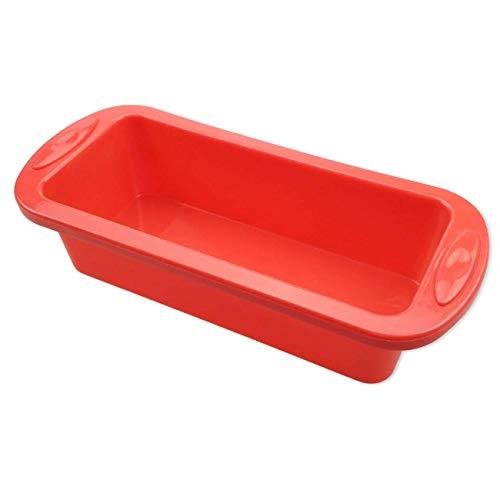 SILIVO Silikon Backform, 22x9.5x6.5 cm Tiefe Rechteck Antihaft Kastenform Brotbackform, Brotkasten und Kuchenform für Saftige Brote und Kuchen(rot) - Non-stick Lasagne Pan