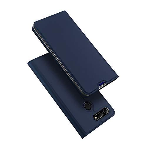 DUX DUCIS Hülle für Honor View 20, Leder Flip Handyhülle Schutzhülle Tasche Case mit [Kartenfach] [Standfunktion] [Magnetverschluss] für Huawei Honor View 20 (Blau)
