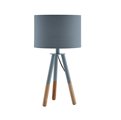 SalesFever Tischlampe, Tischleuchte, Metall- + Holzbeine in grau-braun, Lampenschirm in Grau,...