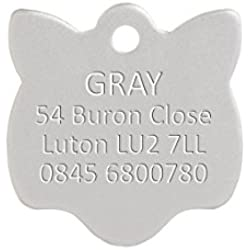 Personnalisé Médaille de Chat en Aluminium en forme de Tête de Chat Argenté (Petit)   SERVICE DE GRAVURE   Médaille Personnalisée pour Animal domestique Légère et Durable