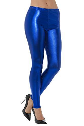 80er 70 Kostüm Dress Fancy - Smiffys Damen 80er Jahre Metallic Disko Leggings, Größe: 36-38, Blau, 48103