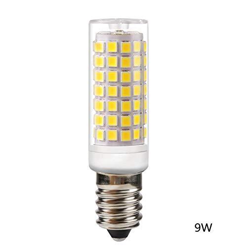 Calistouk E14 Maiskolben-LED-Lampe, Keramik-Sockel, Konstantstrom, Nicht flackernd, LED-Licht für Zuhause Beleuchtung, cool White, 9W 220V 9.0watts (Kandelaber-sockel Keramik)