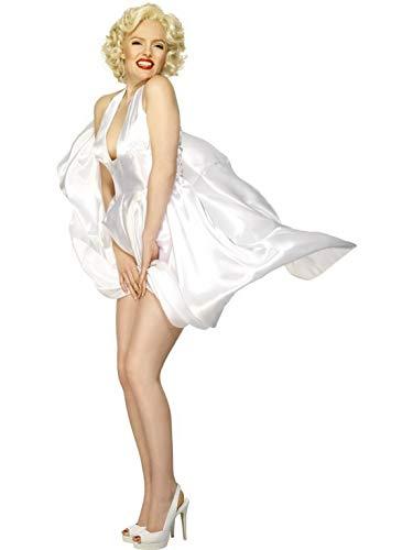 Frauen Marilyn Monroe Classic Kostüm, Neckholder-Kleid, perfekt für Karneval, Fasching und Fastnacht, L, Weiß ()