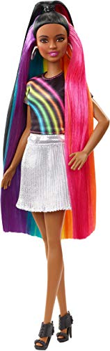 Barbie capelli arcobaleno afroamericana, bambola con accessori, per bambini 3+ anni, fxn97
