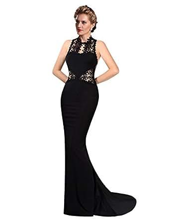 KoJooin femme robe bodycon dentelle femmes sexy robes dos nu sirene maxi robe nuptiale robe de soiree cocktail Noir S