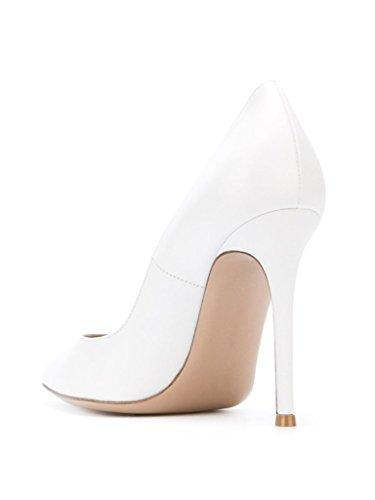 EDEFS - Escarpins Vernis Femme - Chaussures à Talons Hauts Aiguille - Bout Pointu PU Cuir - Fete Soiree Grande Taille MatteBlanc