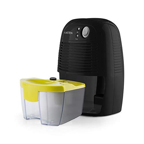 Klarstein Drybest 500 2G • Deumidificatore • Consumo Energetico 23 W • Deumidificazione 300 ml/20 h • LED Operativi • Vaschetta 0,5 L • Silenzioso • Cella Peltier • Nero/Giallo