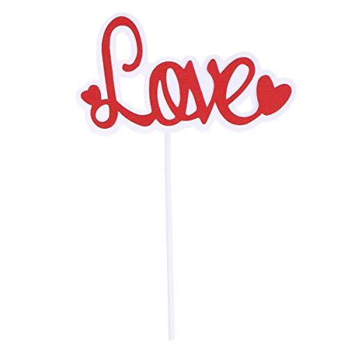 Bestoyard 10pcs love love cake toppers cupcake glitter muffin food picks san valentino bomboniere decorazione