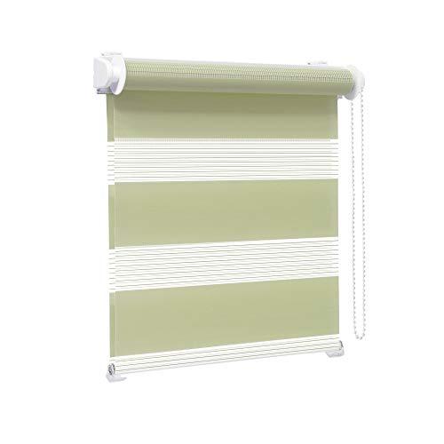 Victoria M. Zevra Estor Doble Enrollable - Estor día y Noche translúcido, 140 x 160 cm, Verde Pistacho