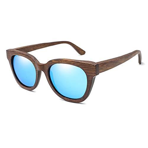 Easy Go Shopping Alle Bambus-Farbfilm polarisierte Sonnenbrille für Männer und Frauen Holz Brille Bambus Holz Sonnenbrille Sonnenbrillen und Flacher Spiegel (Color : Blau, Size : Kostenlos)