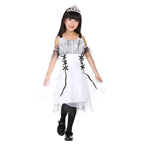 Teufel Kostüm Kid - Cloud Kids Teufel Kostüm Mädchen Party Karneval Fasching Halloween Kleider Cosplay Verkleidung (Größe XL, Weiß)