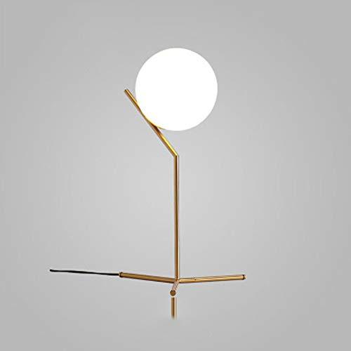 rurun Tischlampe, Nachttisch Minimalistische Eisenkunst Schreibtischlampe, Moderne Gold Chrom Metallkorb Rahmen Runde Ball Glas Schatten Licht Tischleuchte   Nachttisch-Leuchte Für Schlafzimmer   -