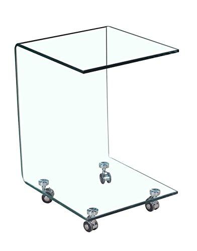 Meubletmoi Table d'appoint carrée en Verre - Bout de canape Transparent vitré sur Roulette - Ambiance Moderne - Ice