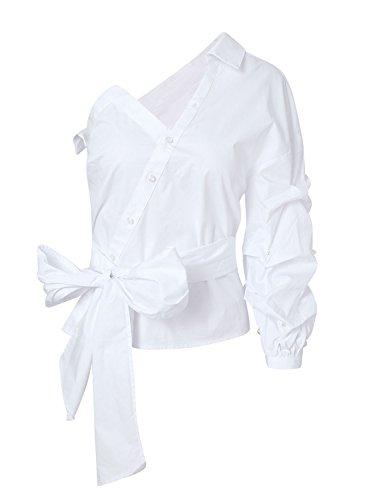 Missy Chilli Damen Bluse Sexy Elegant Langarm Puffärmel V Ausschnitt Asymmetrisch Oberteile Langarmshirt Hemd mit Schleife mit Perlen