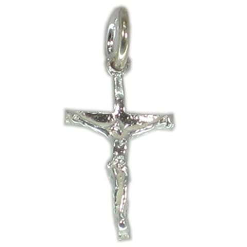 Crucifix TINY sterling silver charm pendant .925 x 1 Jesus Crosses Holy CE2546
