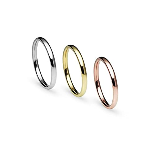 Stackable 3 Piece Set Silver Tone Gold Tone Rose Gold Tone Stainless Steel Wedding Band Ring, Size 9, R