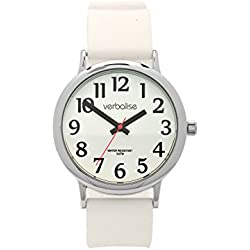 Verbalise Easy to See Men's Water Resistant to 5 ATM Watch with White Silicone Strap