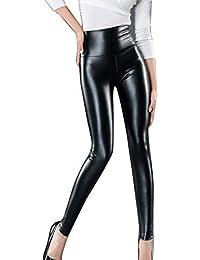 Guiran Mujeres PU Cuero Leggings Cintura Alta Push Up Leggins Skinny  Elásticos Treggings Pantalones Negro M 31c16cdf8f0e
