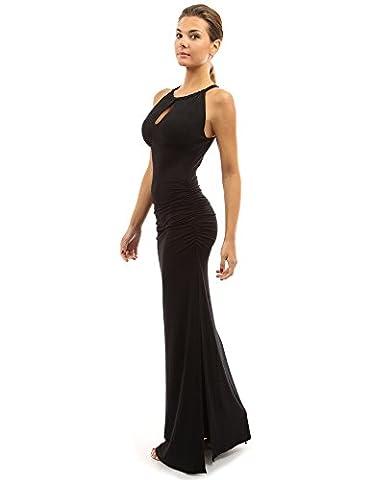 PattyBoutik Women's Keyhole Ruched Sides Slit Maxi Dress (Black 16)