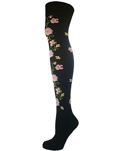 Mysocks® Über das Knie Socken Blumenmuster Schwarze Blumenrebe (Blumen-knie-socken)