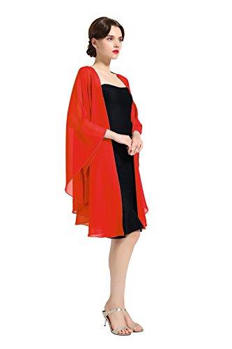 Chiffon Schal Stola Bolero Damen Für Abendkleid Festlich Hochzeit Braut Frühling Sommer Jacke Rot