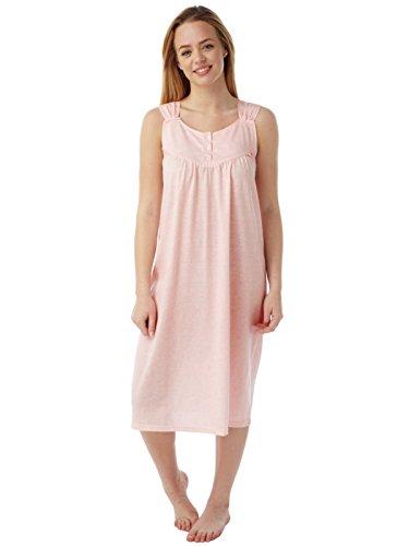 Womens Marlon Ärmelloses Polyester Baumwolle Nachthemd Nachthemd Pastell Flecken Pink