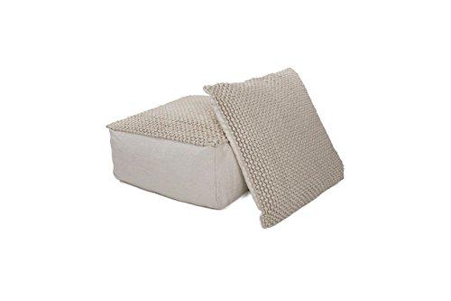 Hocker Sitz-Würfel Modern Design Shaun Pouf 410 Bean Bag Gestrickt Muster Wollmischung 80x80 cm...