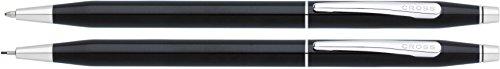 Cross Classic Century Kugelschreiber und Bleistift Set (Strichstäke M und 0,7 mm, nachfüllbar, inkl. Premium Geschenkbox) schwarz-Lack chromplattiert
