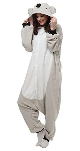 Aivtalk Tier Kostüm Pyjamas Schlafanzug Erwachsene Unisex Fleece-Overall Tier Onesie Halloween Karneval Cosplay Sleepsuit Jumpsuits - Grau Koala (Koala Kostüme Für Erwachsene)