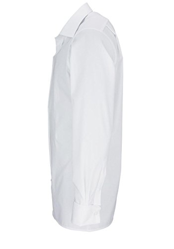 Olymp Hemd Soirée weiss , gestreift New Kentkragen in langarm (65cm) Weiß