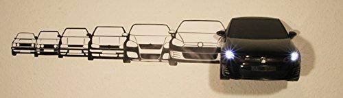 Preisvergleich Produktbild Volkswagen VW Golf GTI 3D LED Leselampe,  Nachtlicht inkl. Wandtattoo Wallsticker batteriebetrieben (Black)