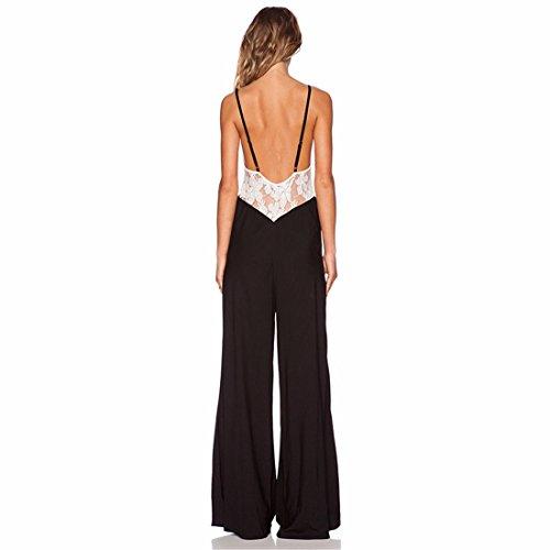 Femmes Sexy Noir Sans Manches En Vrac Skinny Jumpsuit Barboteuses Pantalons Longs Pantalons Noir