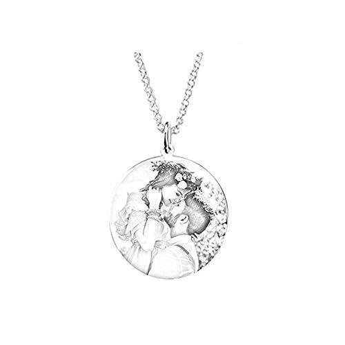Loveu Jewelry Kette Damen Herren Halskette mit Fotogravur und Textgravur 925 Sterling Silber,personalisierte Foto Anhänger Black&White