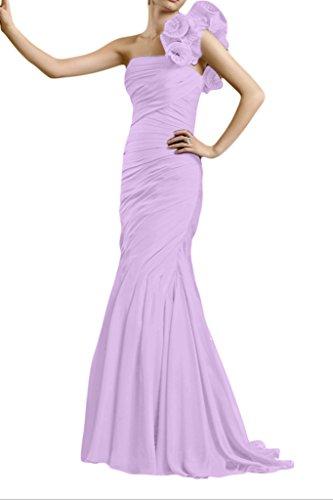 Gorgeous Bride Fashion Ein-Traeger Meerjungfrau Chiffon Lang Brautmutterkleider Abendkleider Festkleider Lilac