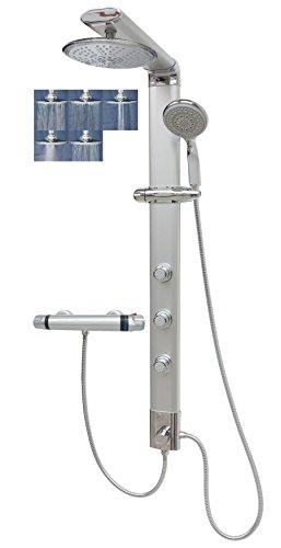 Duschsystem mit Thermostat Duschpaneel Brausepaneel Duschsäule Regendusche mit fünf Strahlarten Massagedüsen Eck & Wandmontage Silber