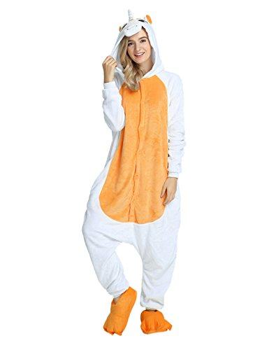 Einhorn Kostüm Karton Tierkostüme Halloween Kostüme Jumpsuit Erwachsene Schlafanzug Unisex Cosplay- Gr, L(Höhe162-175CM), Einhorn Orange (Halloween Kostüm Reißverschluss)