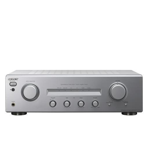 istungsstarker Stereo-Verstärker Silber mit Fernbedienung ()