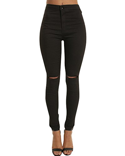 Zhuikun donna vita alta jeans leggings elastico scarni jeggings pantaloni in denim strappati matita pantaloni nero s