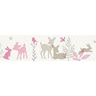 lovely label Bordüre selbstklebend HÄSCHEN & REHE ROSA/GRAU/BEIGE - Wandbordüre Kinderzimmer / Babyzimmer mit Hase und Reh in versch. Farben - Wandtattoo Schlafzimmer Mädchen & Junge, Wanddeko Baby / Kinder