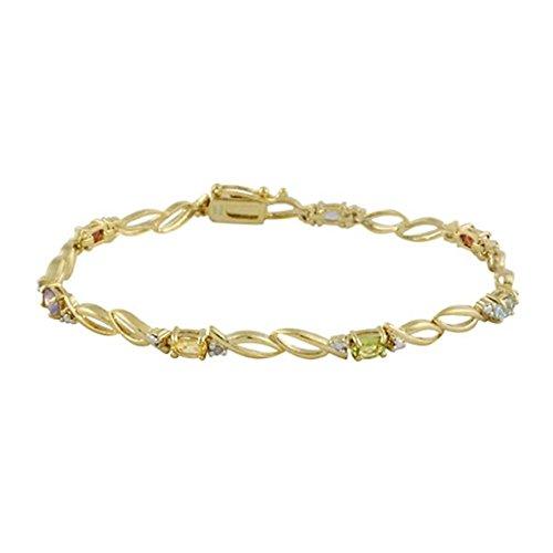 Edles Armband mit Amethyst, Citrin, Peridot, Granat und blauem Topas, 24 Karat Gold Vermeil (Peridot Und Gold-armband)