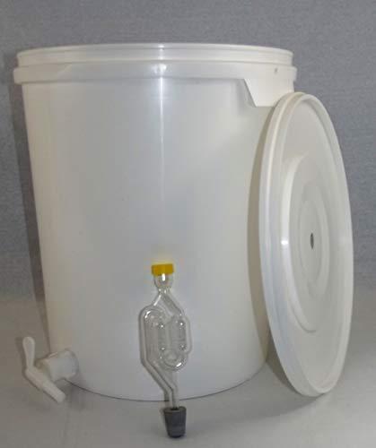 Großer Gärbehälter (33 Liter Volumen) mit Ablasshahn und Gärröhrchen, von Nahrungsmittel-selbermachen