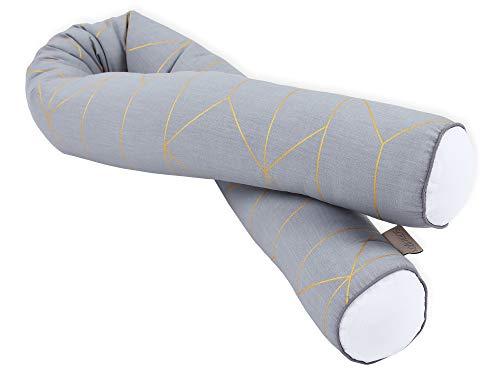 KraftKids Bettrolle goldene Linien auf Grau, Bettschlange 200 cm und mit weichem Vlies gefüllt, optimaler Kantenschutz