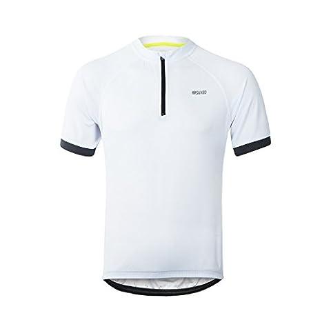M.Baxter Fahrradtrikot Kurzarm Herren Fahrrad Trikot Funktionsshirt Sportshirt Bike T-shirt Fahrradbekleidung Radsport Kurzarmshirt für Frühling und Sommer (weiß, EU