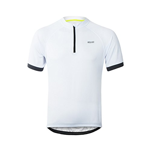 M.Baxter Fahrradtrikot Kurzarm Herren Fahrrad Trikot Funktionsshirt Sportshirt Bike T-Shirt Fahrradbekleidung Radsport Kurzarmshirt für Frühling und Sommer (weiß, EU XL)