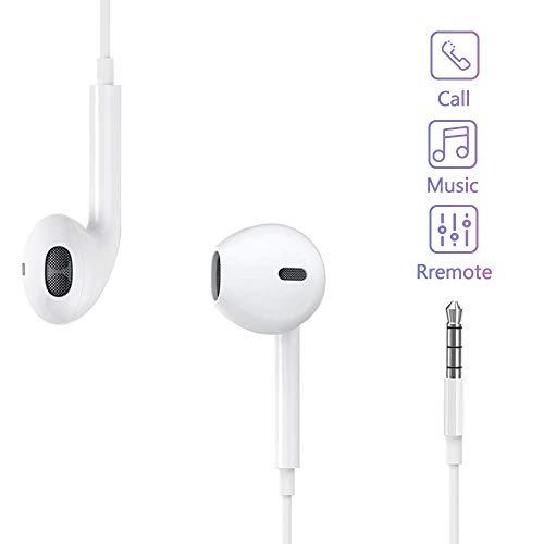 FLYHANA in-Ear Cuffie, Auricolari con Telecomando e Microfono, Cuffie con Cancellazione del Rumore, Cuffia Cablata, Auricolari Cuffie Stereo 3,5 mm per Phone Pad Huawei Xiaomi Samsung Android, Bianco
