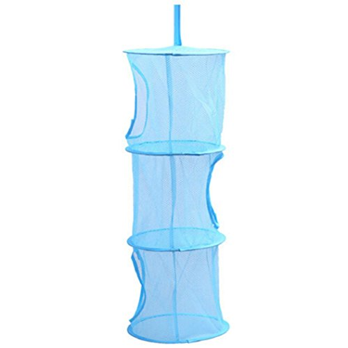 Bluelans® Mesh-hängender Speicher-Korb, 3 Tier zusammenklappbare Network hängend Aufbewahrungstasche für Spielzeug, kleine Kleidung usw. (3-tier-korb)