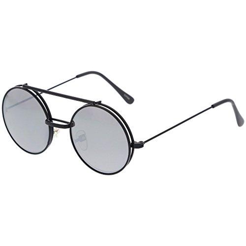 sunglassLA -  Occhiali da sole  - Rotondo - Uomo Black / Silver Mirror Taglia unica